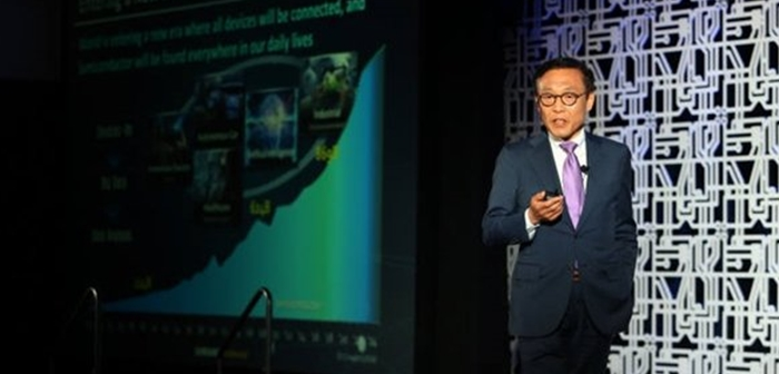 President Kim Ki-nam of Samsung Electronics who oversees semiconductor business is announcing a roadmap of Samsung Electronics' next-generation process technologies at Samsung Foundry Forum that was held in Santa Clara on the 24th (U.S. time).