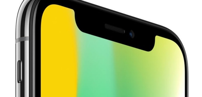 iPhone X's OLED display that looks unique on how it covers a camera (Reference: Apple's homepage)